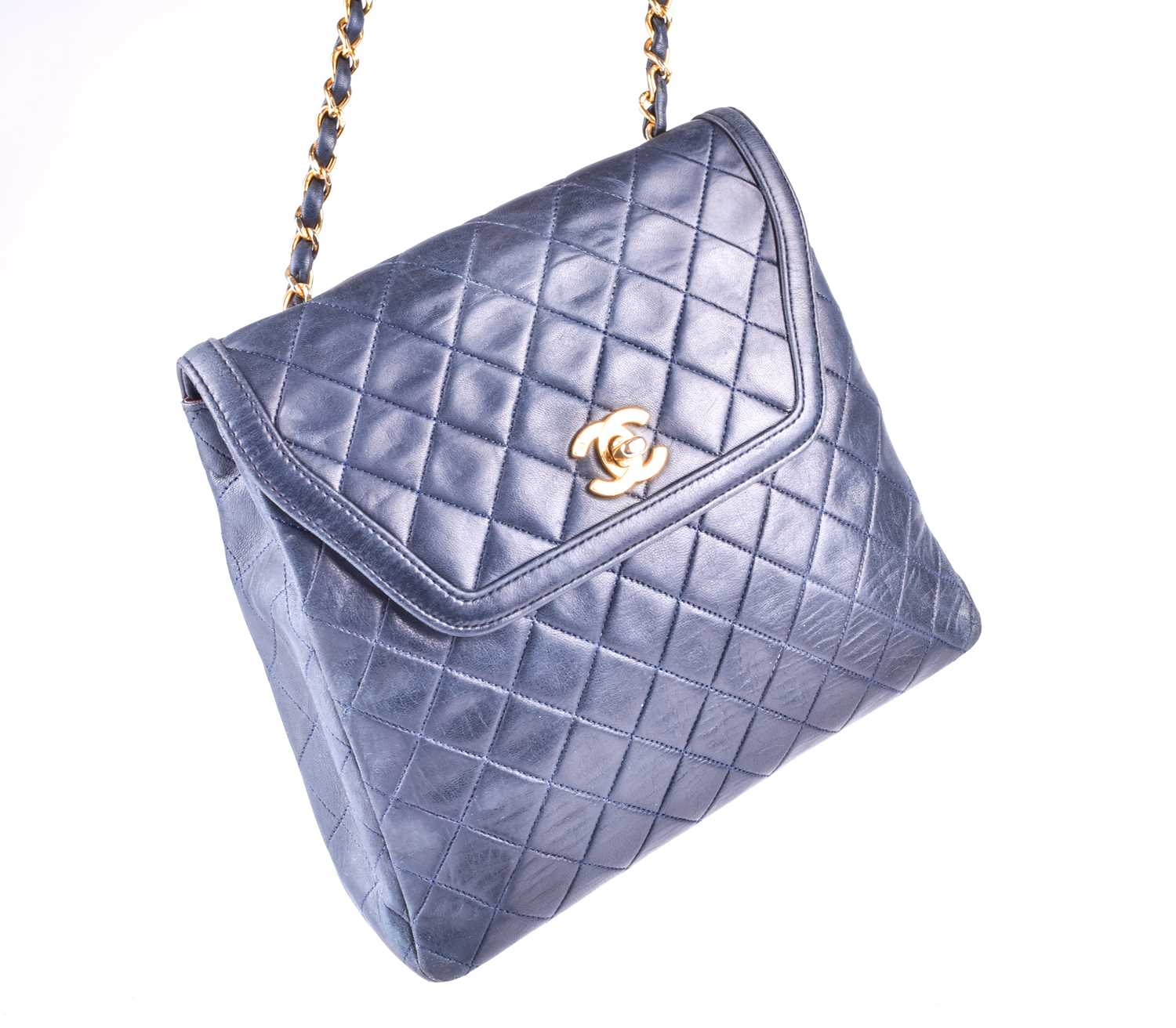 Chanel. A classic quilted leather handbag, of tapered square design, with gold tone CC logo clasp, - Image 12 of 26