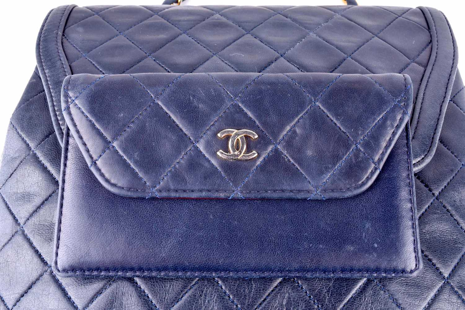 Chanel. A classic quilted leather handbag, of tapered square design, with gold tone CC logo clasp, - Image 11 of 26