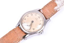 A 1950s Omega stainless steel wristwatch, the silvered dial with luminous numerals and hands, with