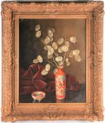 Joan B N v. Gent (19th / 20th century), a still life study of flowers in an Oriental vase, oil on