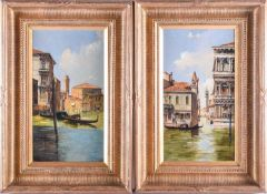 A pair of late 19th century paintings of Venice, oils on canvas, indistinctly signed, each 33 cm x
