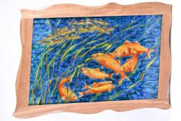 Mary Thorpe (20th century), a mettallic effect study of fish amongst reeds, mixed media, signed to