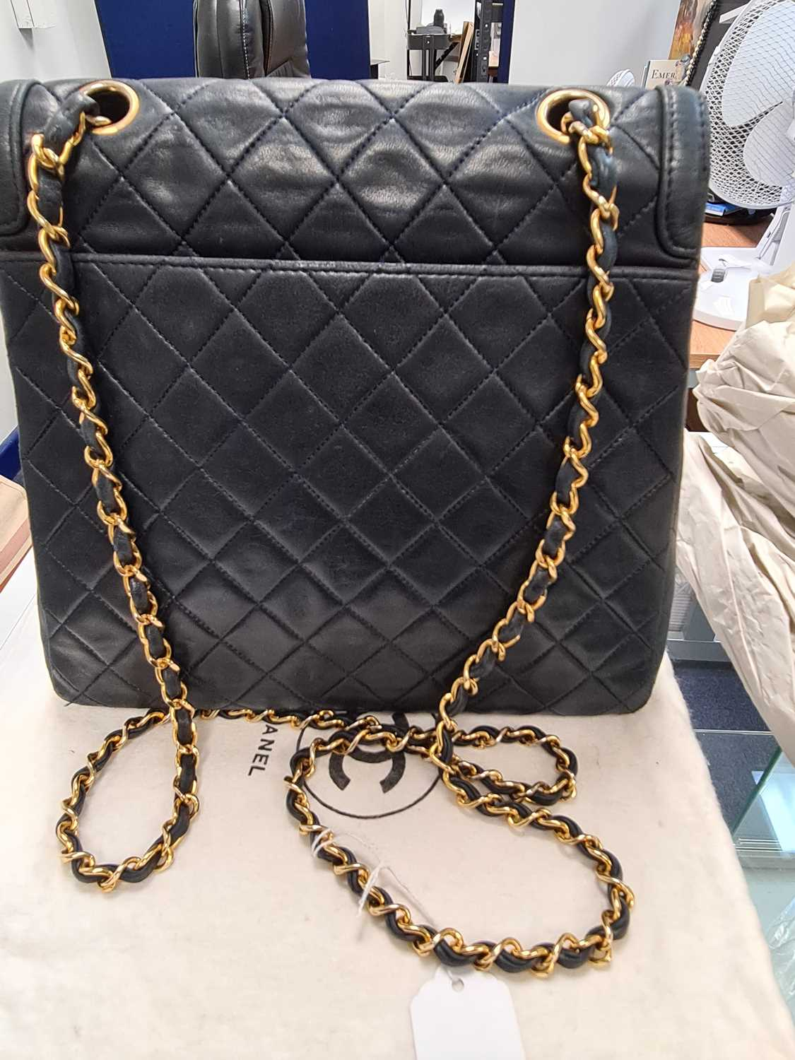 Chanel. A classic quilted leather handbag, of tapered square design, with gold tone CC logo clasp, - Image 15 of 26