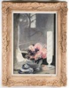 20th century school, a still life study of flowers in a vase, oil on canvas, indistinctly signed, 54