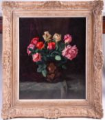 20th century school, a floral still life study, oil on canvas, indistinctly signed, 65 cm x 52 cm in