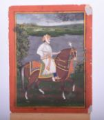 Indian school, 19th century, Royal Prince on horse, before a river and landscape, within yellow