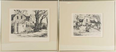 Tinus de Jongh (1885-1942) Dutch/South African, two etchings, 'Stellenberg Tokai, Cape' and '