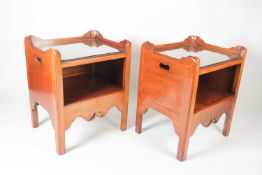 A pair of good quality George III style mahogany tray-topped open night cupboards, with square