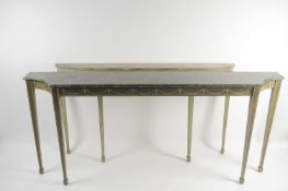 A Geo IV style, early 20th century shallow concave ended breakfront, console table with simulated