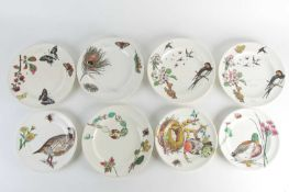 Five Aesthetic Movement 'Naturalist' pattern dinner plates, by William Stephen Coleman for Minton,