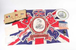A small collection of WW I ephemera, comprising a French embroidery of allies flags, a small 'Vive