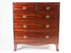 """An early 19th century ebony strung and figured mahogany """" caddy-top"""" chest of Two short over Three"""