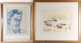Chatin Sarachi (Albanian, 1899-1974) 'Tug and moored boats', crayon on paper, together with a