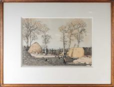 George Houston (1869-1947), a farm landscape, the sea to the background, watercolour, signed to