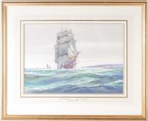 A. D. Bell (pseud. for Wilfred Knox RBA, 1884-1966), 'Over The Waves', a Bristol tea clipper,