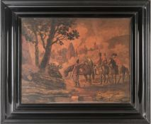 19th century school, a group of soldiers on horseback, a town to the background, unsigned