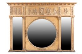 A Regency style gilt framed overmantel mirror, the frieze with relief decorated Roman figures,