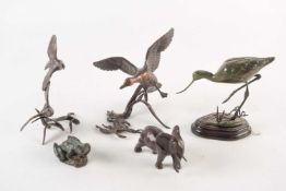 A mixed group of five assorted bronze birds and animals, comprising a green patinated wading bird,