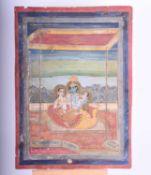 Indian School, 18th/19th century, Krishna with Nama Gopi and Seva Gopi beneath a canopy with
