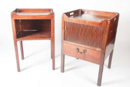 A Geo III mahogany tray topped, tambour fronted night cupboard with pull-out base, raised on moulded