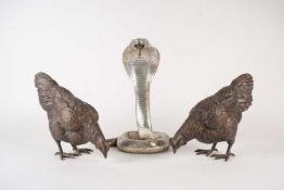 Two 20th century large cast bronze models of chickens, 22 cm high x 29 cm wide, together with a