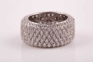 An 18ct white gold and diamond eternity band ring, pave-set with 245 round brilliant-cut diamonds,