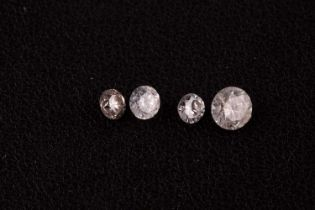 A group of four round brilliant-cut loose diamonds, the largest approximately 0.46 carats, I3