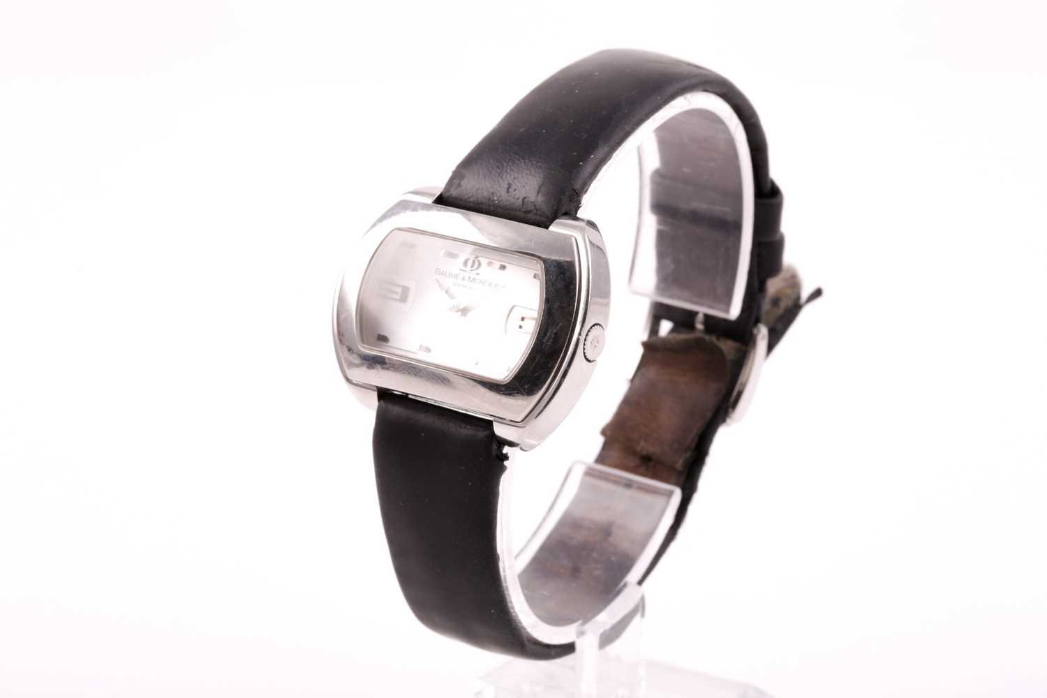 A Baume & Mercier ladies stainless steel oval wristwatch, the silvered dial with larger 3 and 9 - Image 8 of 11