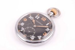 A Jaeger Lecoultre military pocket watch, the black dial with luminous and non-luminous Arabic
