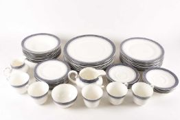 """Royal Doulton """"Sherbrooke"""" dinner and tea wares. To include five cups saucers, side plates, dinner"""