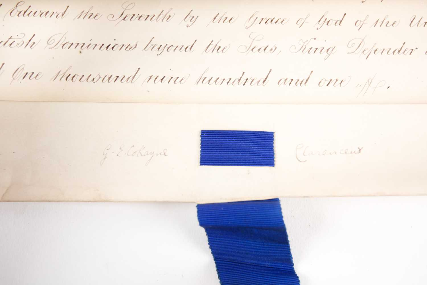 Grant of Arms. A velum Letters Patent to Sir Matthew Ingle Joyce of Blackfordly in the county of - Image 2 of 9