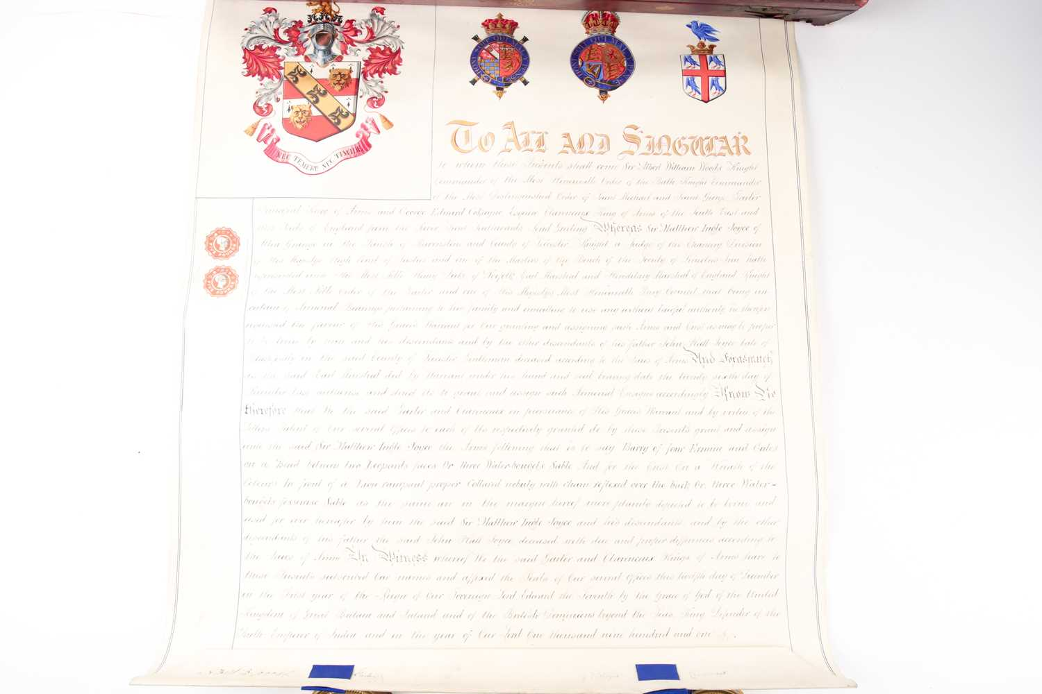 Grant of Arms. A velum Letters Patent to Sir Matthew Ingle Joyce of Blackfordly in the county of