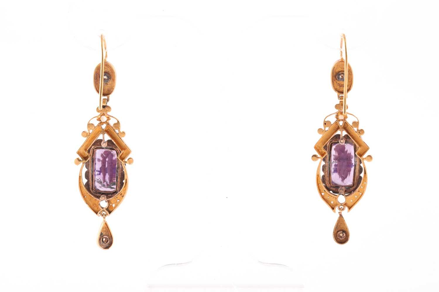 A late 19th century yellow gold French pendant, centred with amethyst glass, polychrome painted with - Image 5 of 5