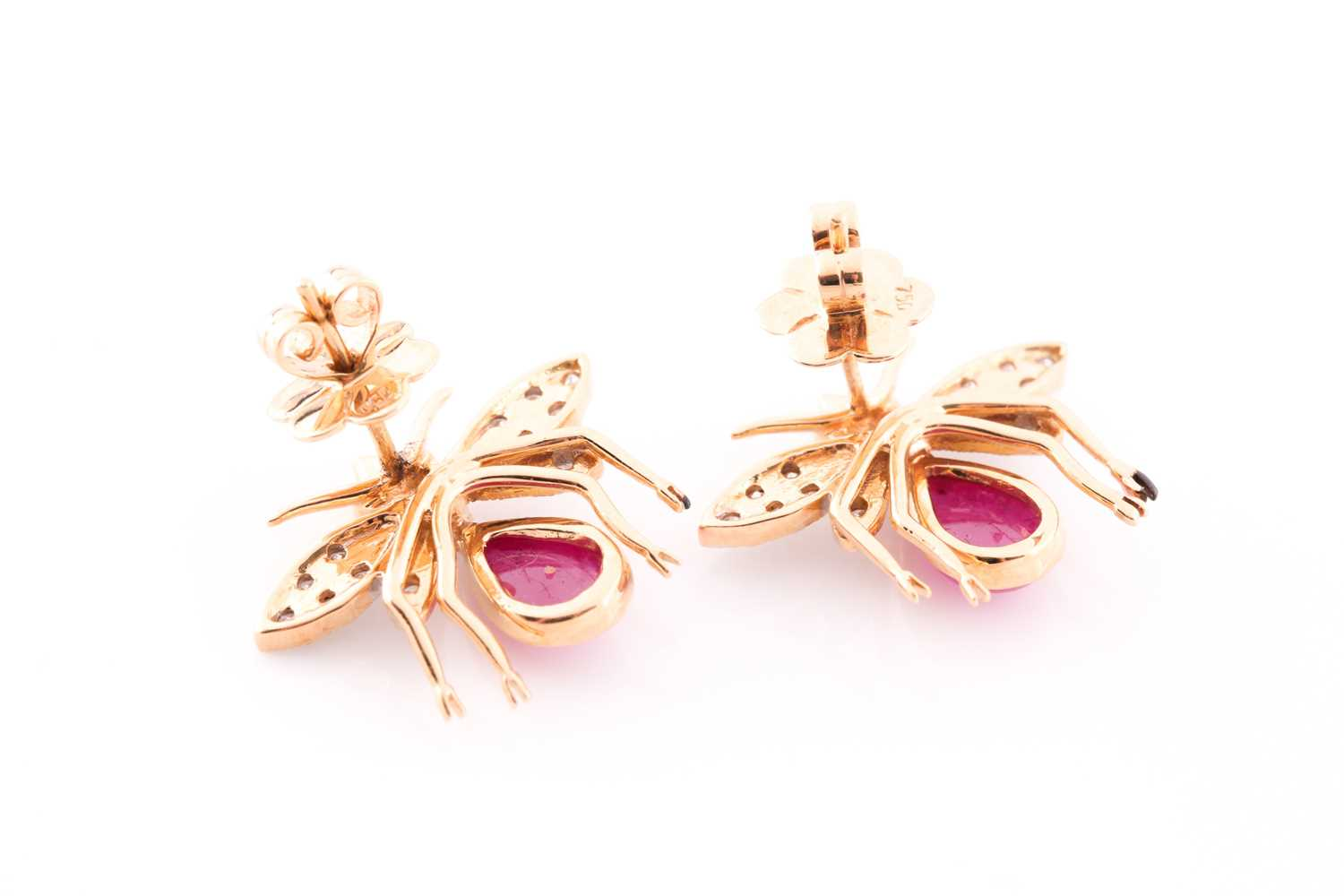 A pair of yellow metal, diamond, and ruby earrings in the form of bees, each bee with a diamond- - Image 2 of 2