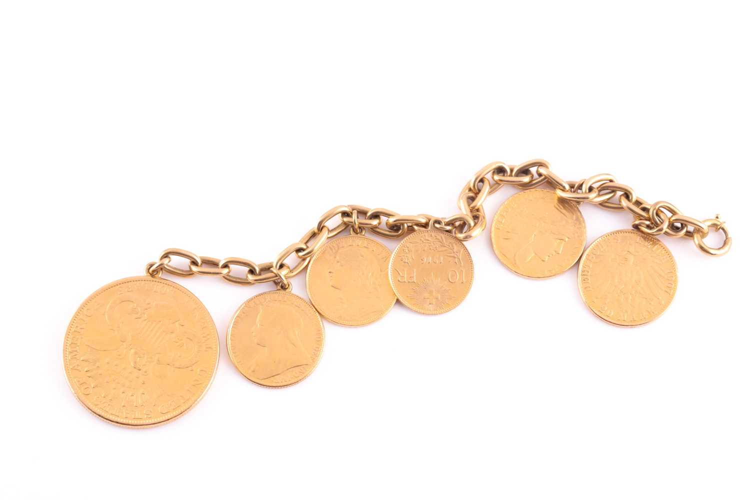 A yellow metal bracelet, suspended with six various fine gold coins, including an American 20 dollar - Image 3 of 3