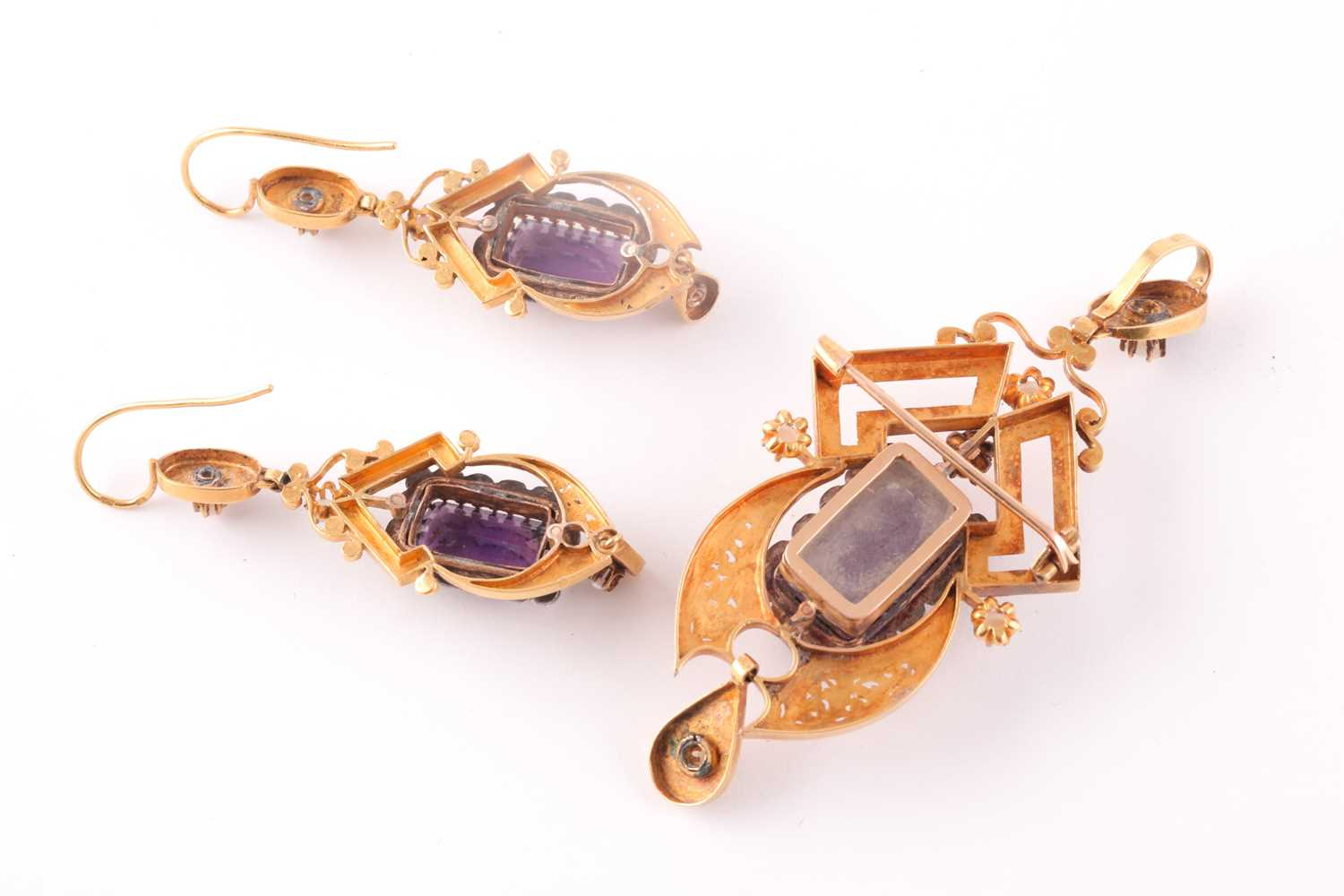 A late 19th century yellow gold French pendant, centred with amethyst glass, polychrome painted with - Image 4 of 5