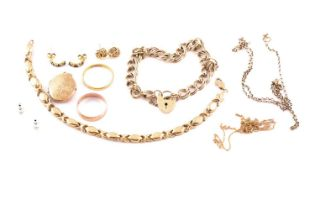 A 22ct gold wedding band; together with a 9ct gold wedding band; two chain link bracelets and a