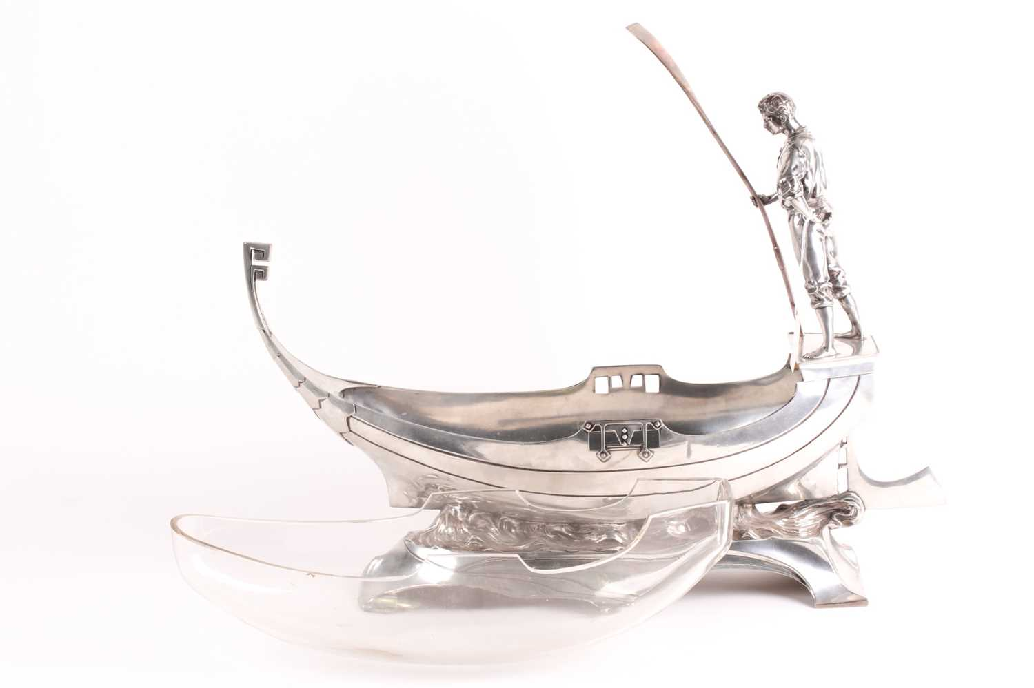 An Art Nouveau WMF centrepiece. In the form of a gondola with a gondolier to the rear holdng a pole; - Image 2 of 8