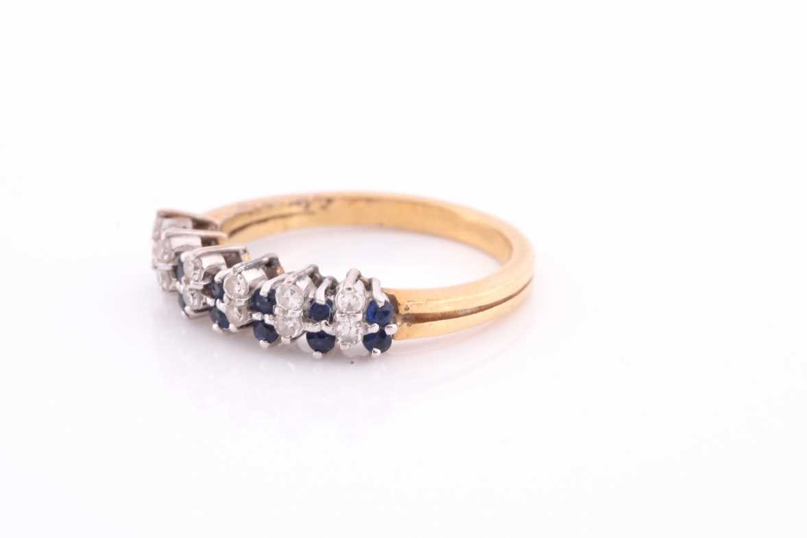 A sapphire and diamond half hoop ring; the round brilliant cut diamonds and circular cut sapphires - Image 4 of 4