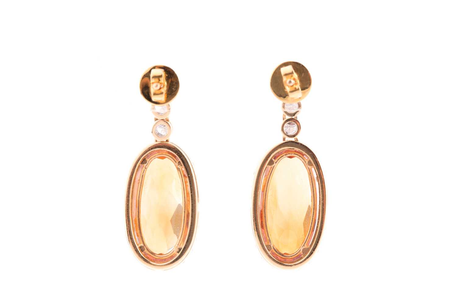 A pair of yellow metal, diamond, and citrine drop earrings, set with mixed oval-cut orange - Image 2 of 2