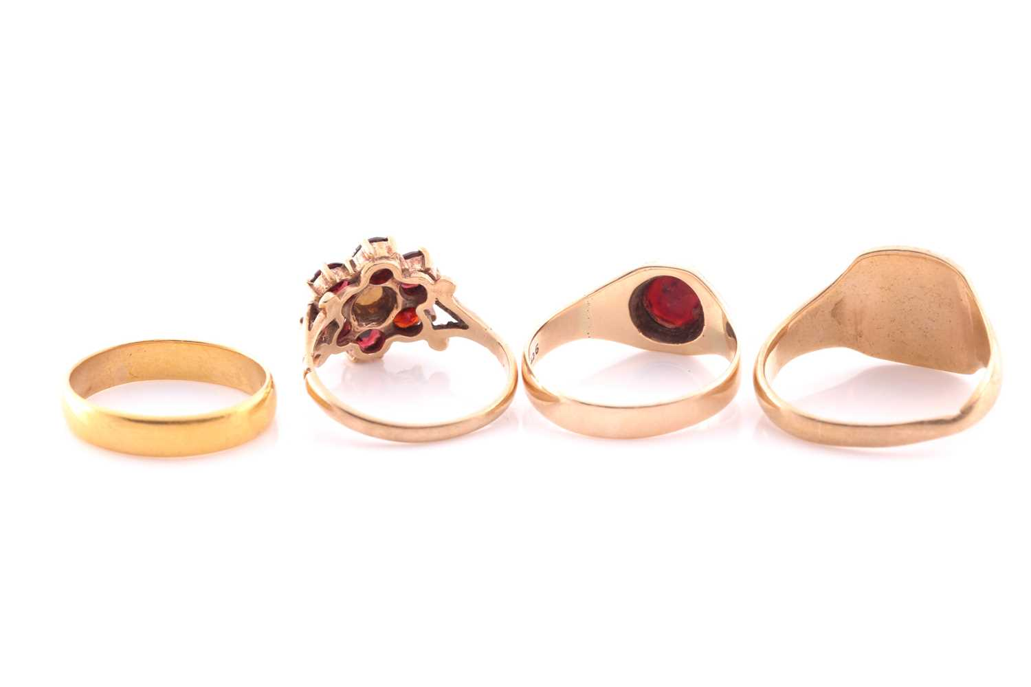 A 9ct yellow gold, garnet, and pearl floral cluster ring, size M, together with a 9ct yellow gold - Image 2 of 2