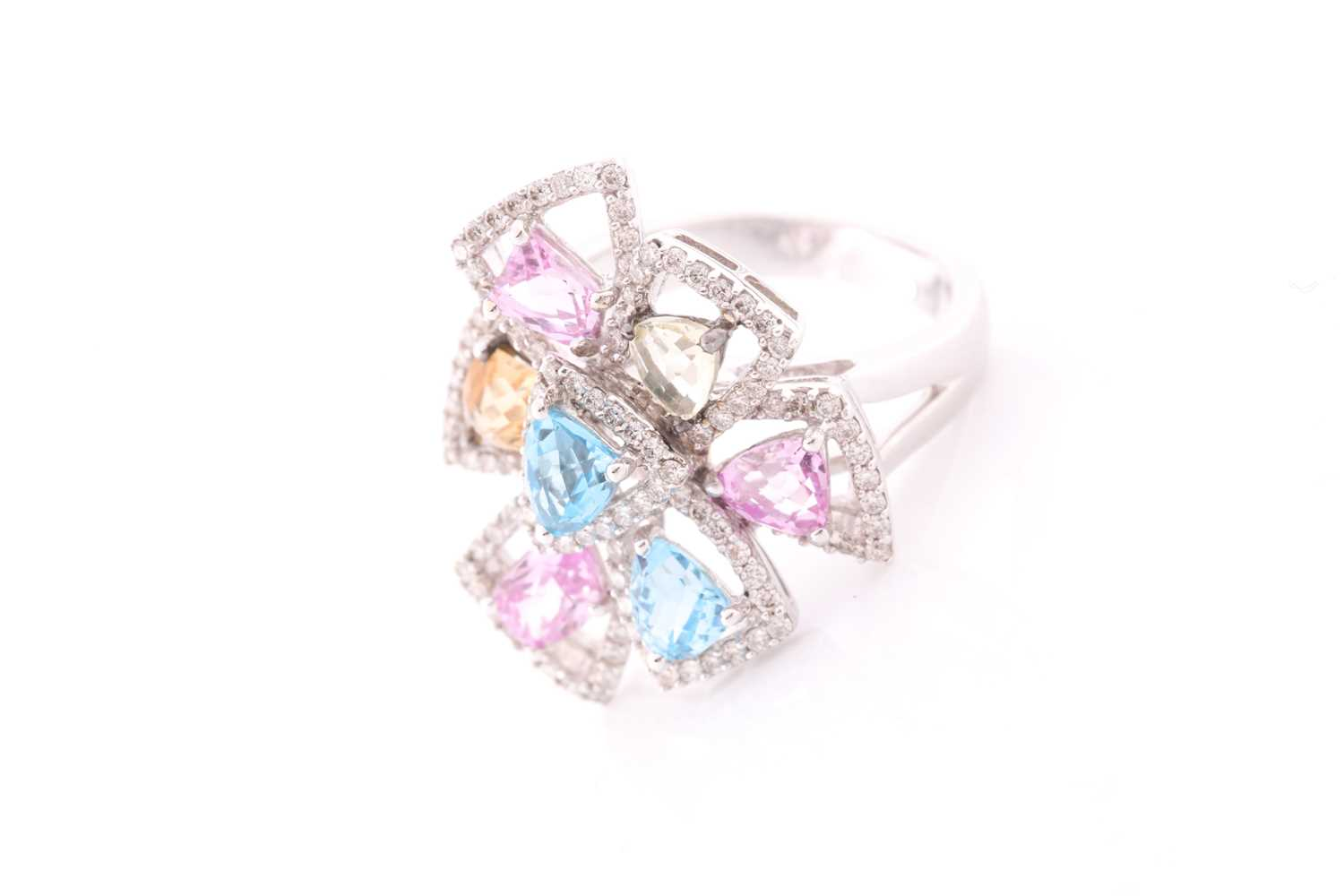 An 18ct white gold, diamond, and multi-coloured topaz ring of geometric floral form, the openwork - Image 3 of 5