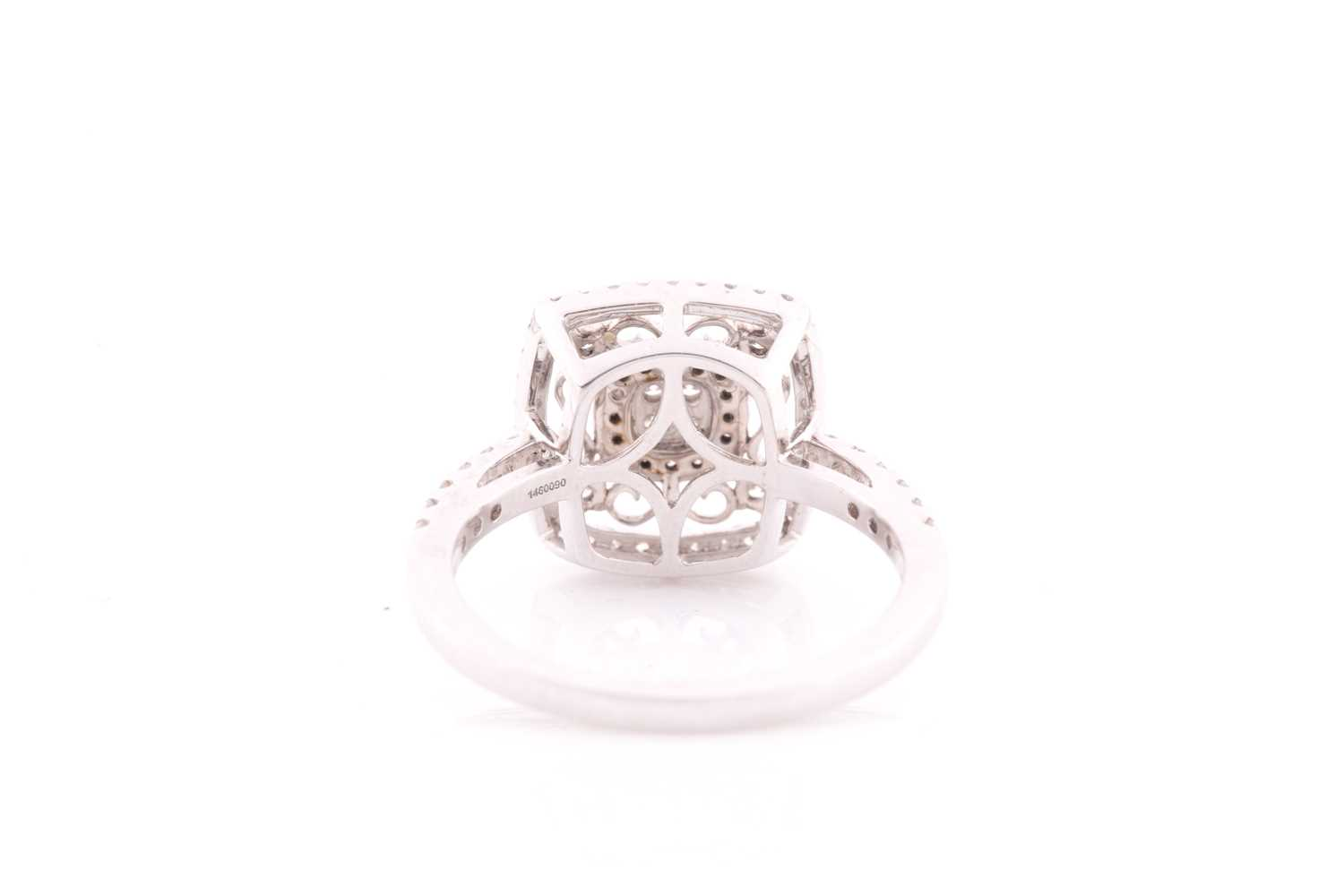 An 18ct white gold and diamond ring, the openwork mount with filigree style decoration, inset with - Image 2 of 4