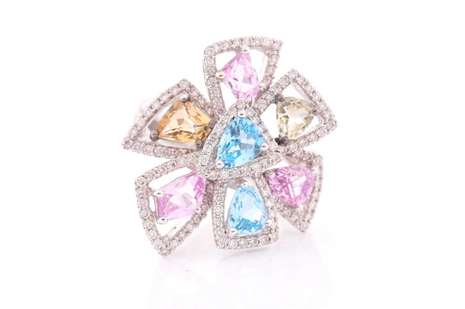 An 18ct white gold, diamond, and multi-coloured topaz ring of geometric floral form, the openwork - Image 5 of 5