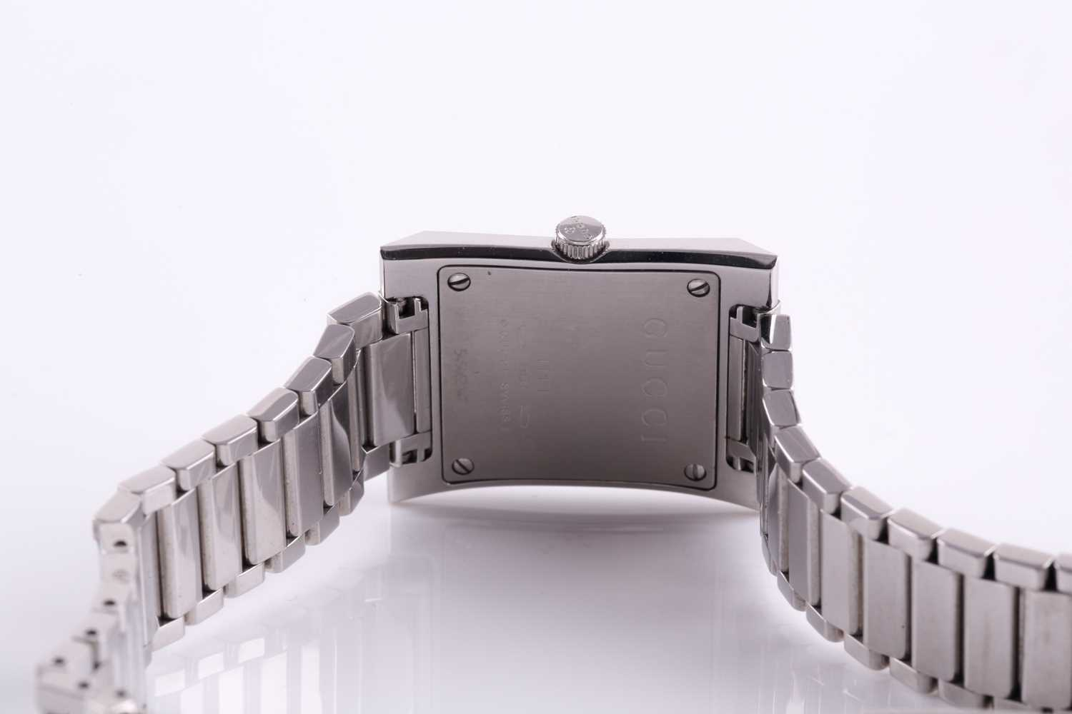 A ladies stainless steel watch by Gucci, with mother-of-pearl square dial, small diamonds set to - Image 8 of 10