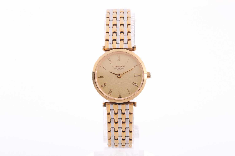 Longines. A ladies gilt metal 'La Grande Classique de Longines' wristwatch, gilt baton dial on - Image 2 of 6