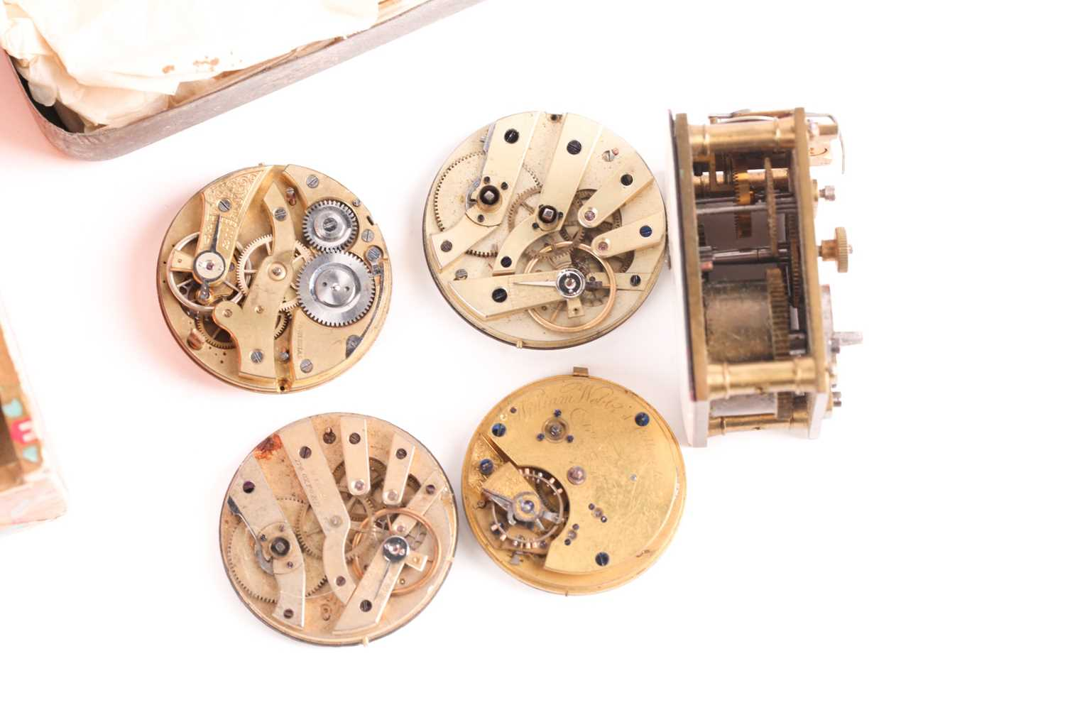 A quantity of watch and clock parts including a number of silver watch cases, several enamel dials - Image 3 of 5