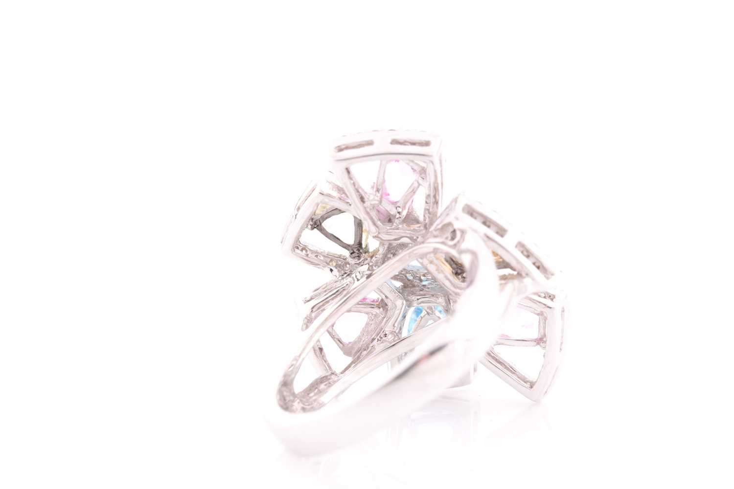 An 18ct white gold, diamond, and multi-coloured topaz ring of geometric floral form, the openwork - Image 4 of 5