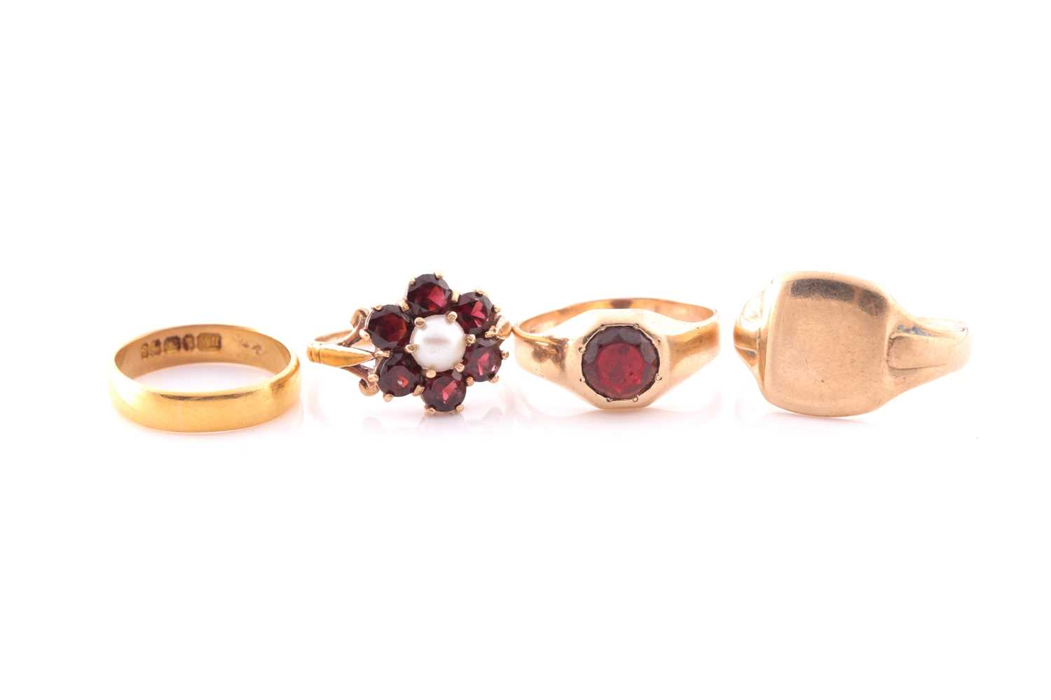 A 9ct yellow gold, garnet, and pearl floral cluster ring, size M, together with a 9ct yellow gold