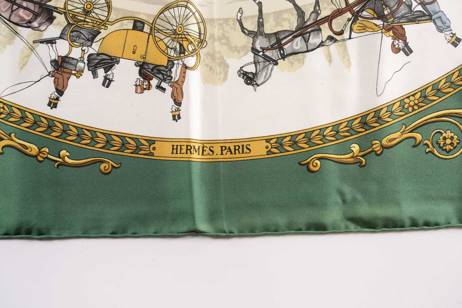 A Hermes silk square scarf printed with La Promenade De Longchamps pattern in yellow and tones of - Image 5 of 8
